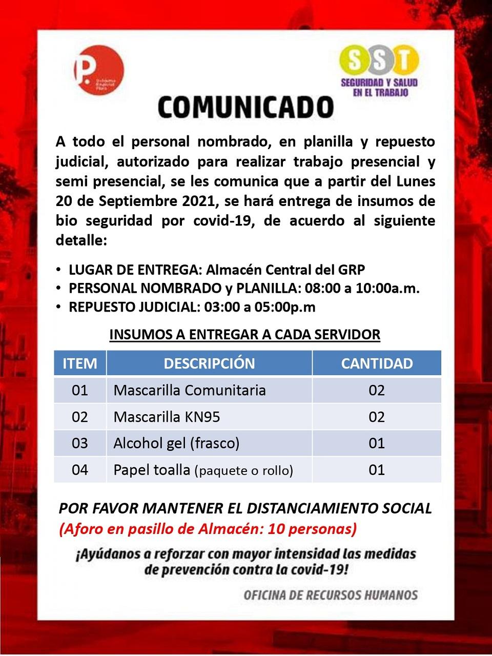 COMUNICADO ENTREGA DE INSUMOS POR COVID-19