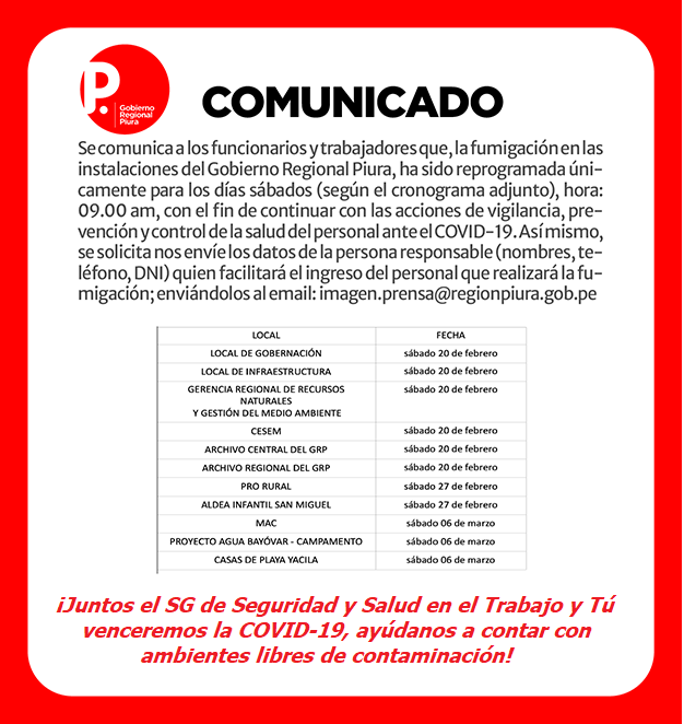 ACTIVIDADES DE PREVENCIÓN Y CONTROL DE COVID-19