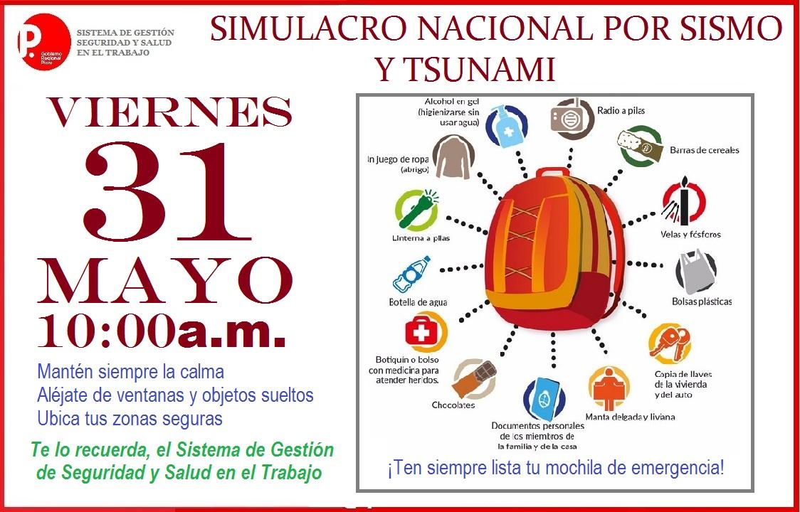 SIMULACRO NACIONAL POR SISMO Y TSUNAMI