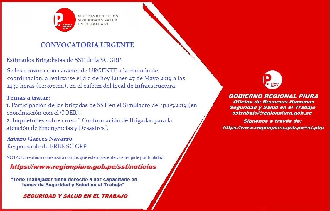 CONVOCATORIA A BRIGADISTAS DE SST SC GRP